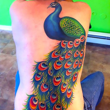 Peacock on Full Back Tattoo