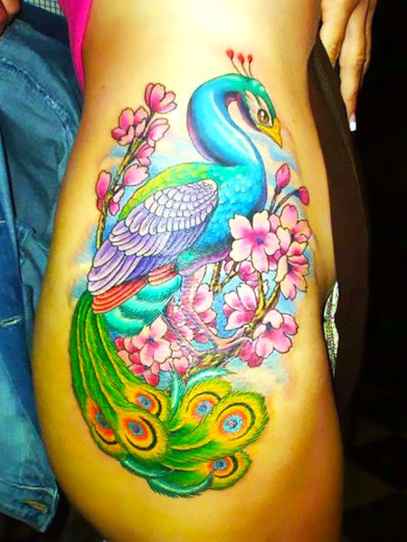 Peacock on Hip Tattoo Idea