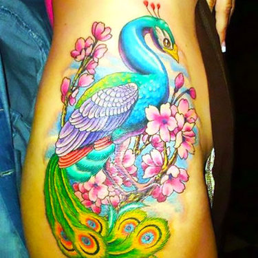 Peacock on Hip Tattoo