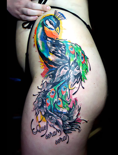 Peacock on Hip for Girls Tattoo Idea