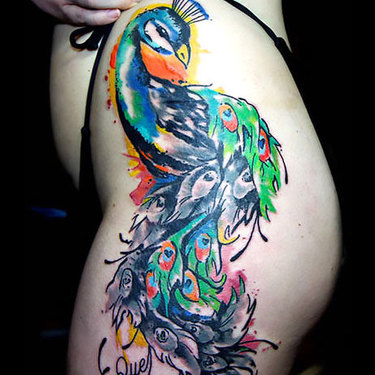 Peacock on Hip for Girls Tattoo