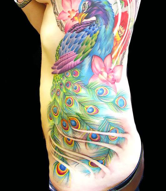 Peacock on Side Tattoo Idea