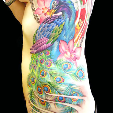 Peacock on Side Tattoo