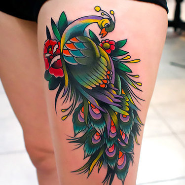 Peacock on Thigh Tattoo