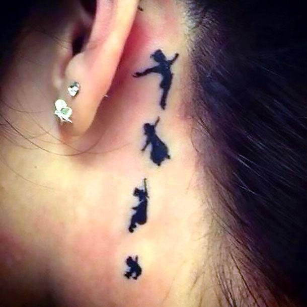 Peter Pen Behind Ear Tattoo Idea