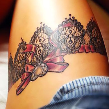 Pink and Black Garter Tattoo