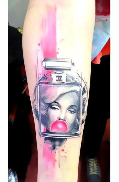 Pink Marylin Monroe Perfume Tattoo Idea