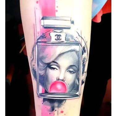 Pink Marylin Monroe Perfume Tattoo