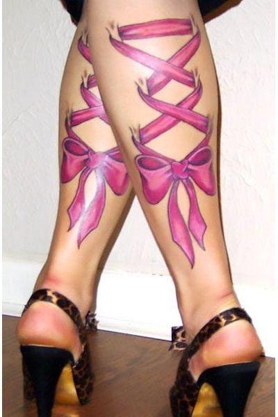 Pink Ribbons on Legs Tattoo Idea