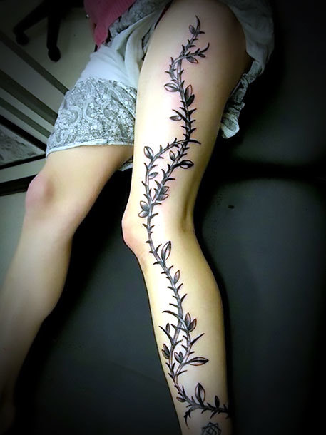Plant on Leg for Women Tattoo Idea