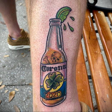 COVID-19 Coronavirus - Beer Bottle and Clover Tattoo