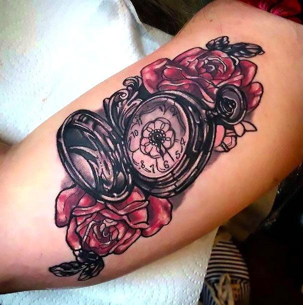 Pocket Watch on Bicep Tattoo Idea