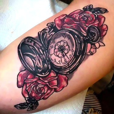 Pocket Watch on Bicep Tattoo