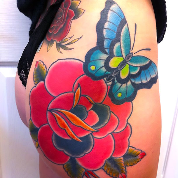 Rose and Butterfly on Butt Tattoo Idea
