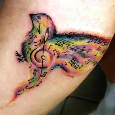 Awesome Small Songbird on Forearm Tattoo