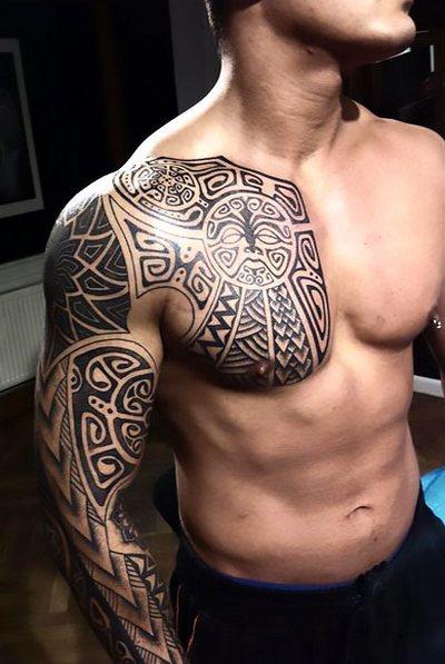 Polynesian Chest to Arm Tattoo Idea