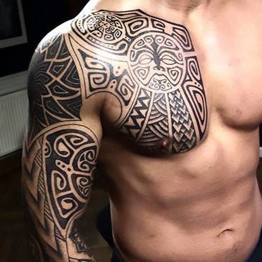Polynesian Chest to Arm Tattoo