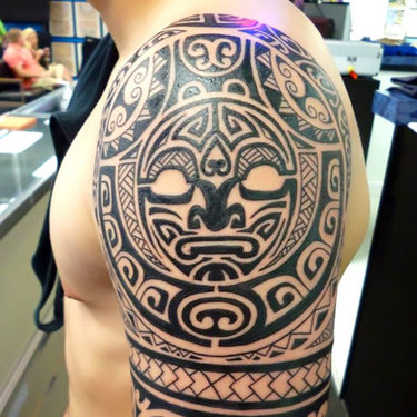Polynesian Half Sleeve Tattoo