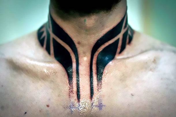 Polynesian Style Neck Tattoo Idea