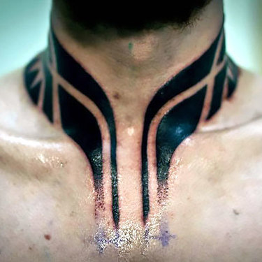 Polynesian Style Neck Tattoo