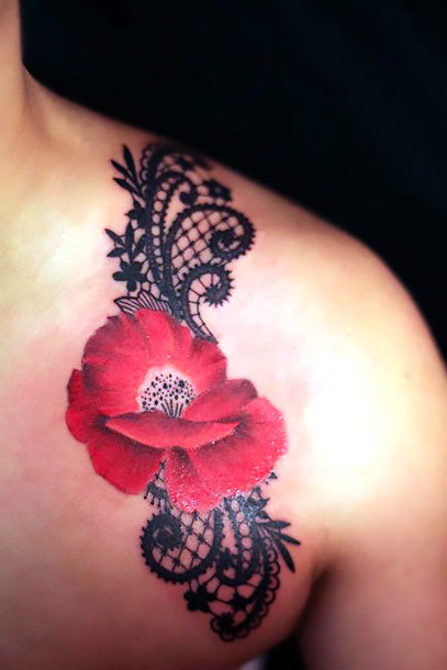 Poppy and Lace on Shoulder Tattoo Idea