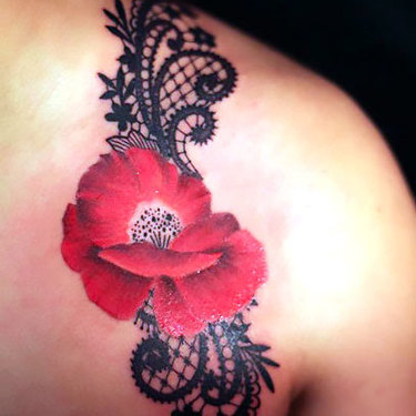 Poppy and Lace on Shoulder Tattoo
