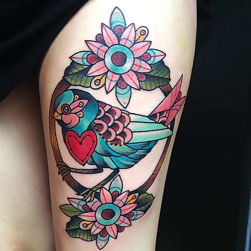 Pretty Bird Tattoo Idea
