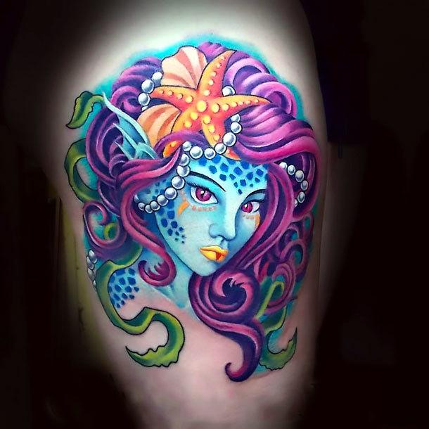 Purple Mermaid Tattoo Idea