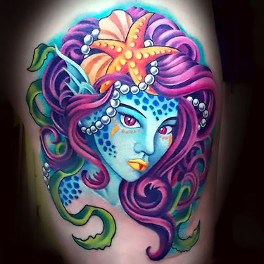 Purple Mermaid Tattoo