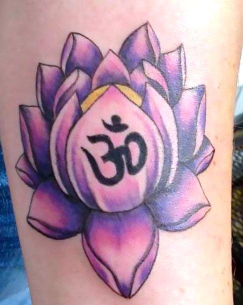 Purple Om Lotus Tattoo Idea