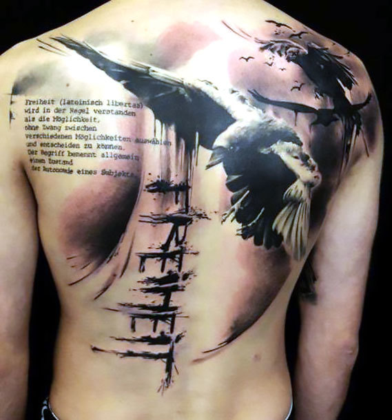 Raven Tattoo on Shoulder Blade Tattoo Idea