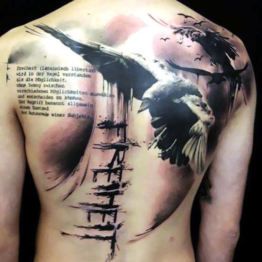 Raven Tattoo on Shoulder Blade Tattoo