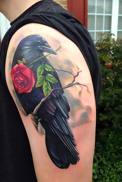 Crow with rose Tattoo Idea