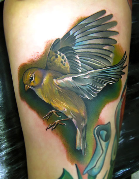 Realistic Bird Tattoo Idea