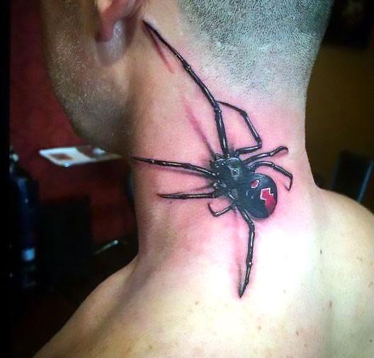 3D Spider Neck Tattoo Idea