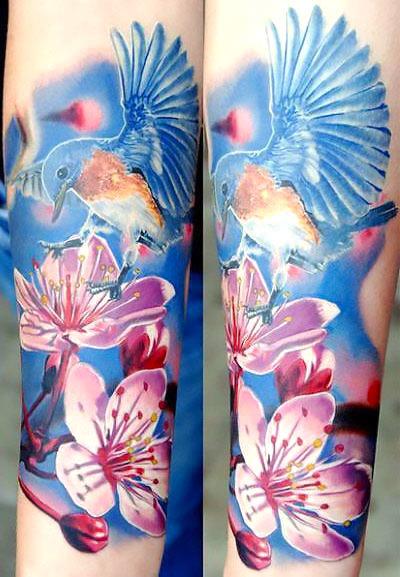 Realistic Bluebird Tattoo Idea