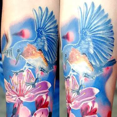 Realistic Bluebird Tattoo