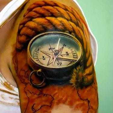 Realistic Compass Tattoo
