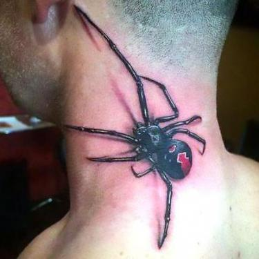3D Spider Neck Tattoo