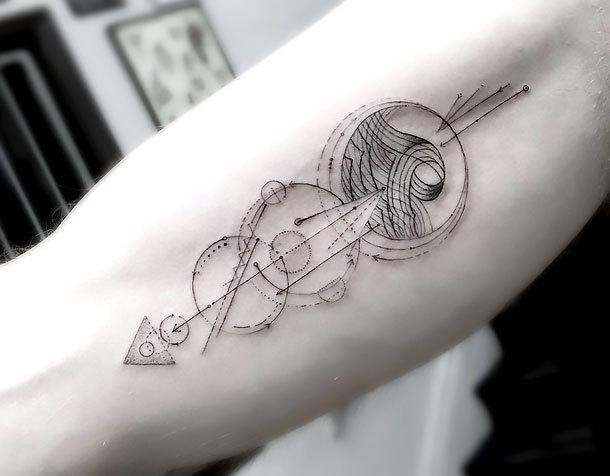 Great Line Arrow Tattoo Idea