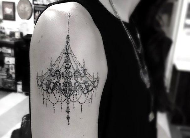 Fine Line Chandelier Tattoo Idea