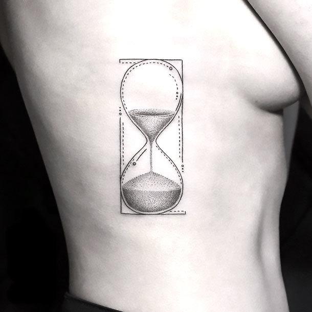 Fine Line Hourglass Tattoo Idea