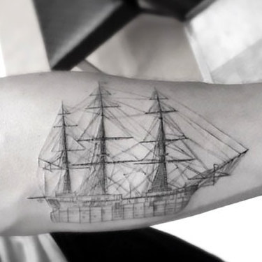 Fine Line Ship Tattoo