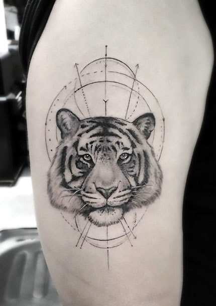 Fine Line Tiger Tattoo Idea