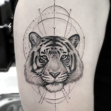Fine Line Tiger Tattoo