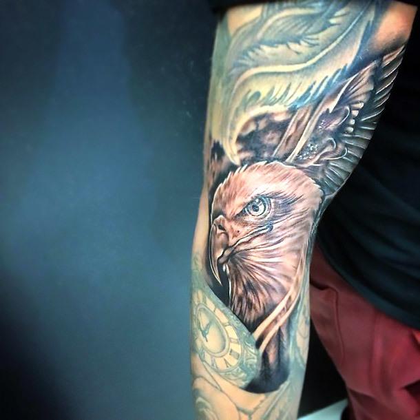 Black and Gray Eagle Tattoo Idea