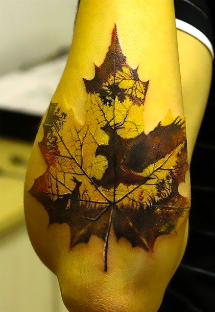 Eagle Shape on Leaf Tattoo Idea