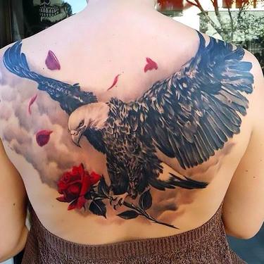 Eagle With Rose Tattoo