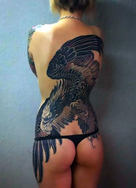 Feminine Full Back Golden Eagle Tattoo Idea