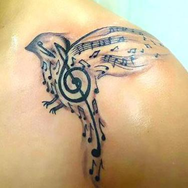 Awesome Songbird on Collarbone Tattoo